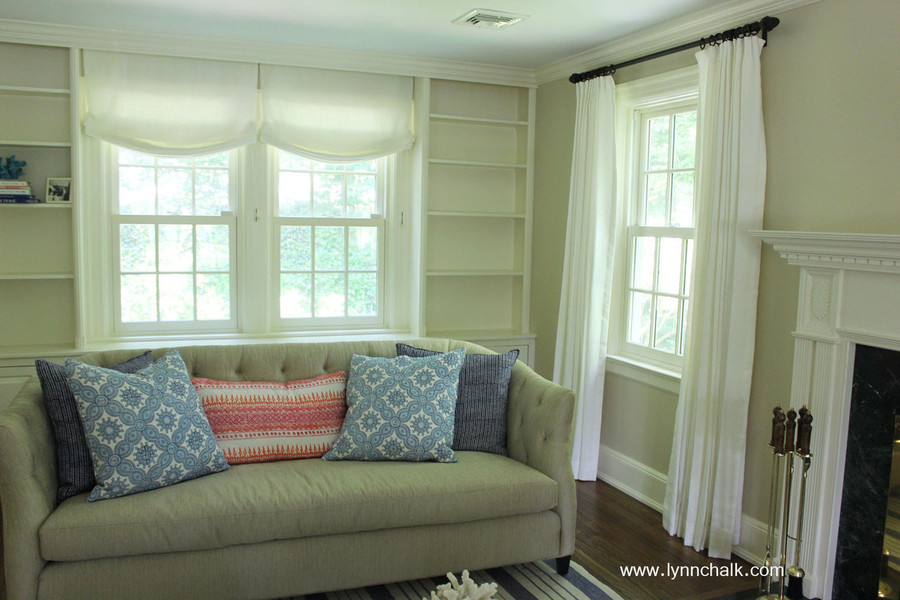 Casual Roman Shades and Drapes in Kravet Linen - Dublin in Bleach by Lynn Chalk. Pillows in John Robshaw Algiers in Lotus, Petra in Cobalt and Aleppo in Indigo