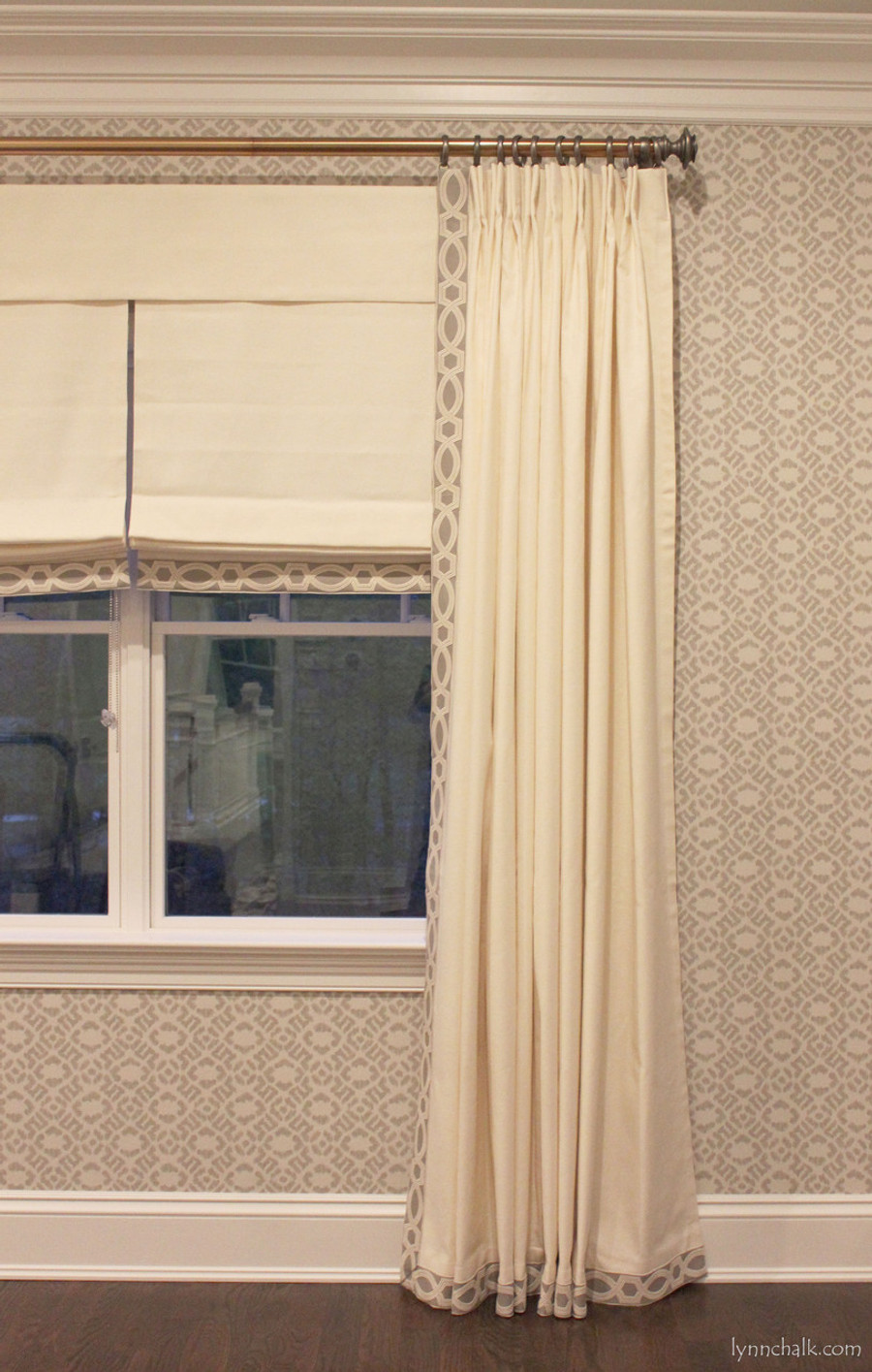 Drapes and Roman Shades in Trend 01838T 07 with Samuel & Sons 977 56199 Trim.   Fabricut Wallpaper 50025W Diamante Grey 03.