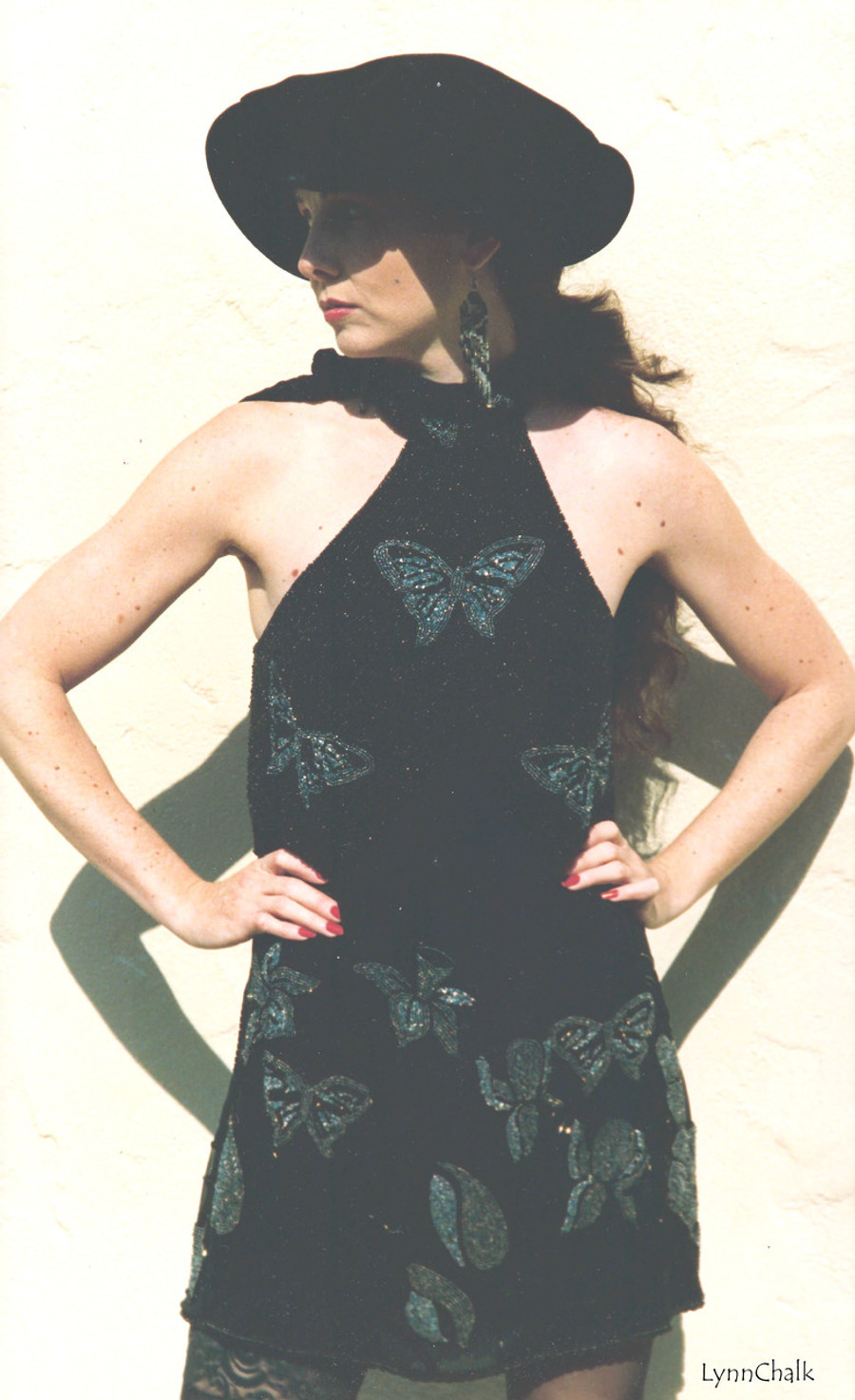 One-of-a-kind Hand Beaded Tie-Neck Dress by Lynn Chalk with Butterflies and Flowers in Black and Silver Beads on Silk Chiffon