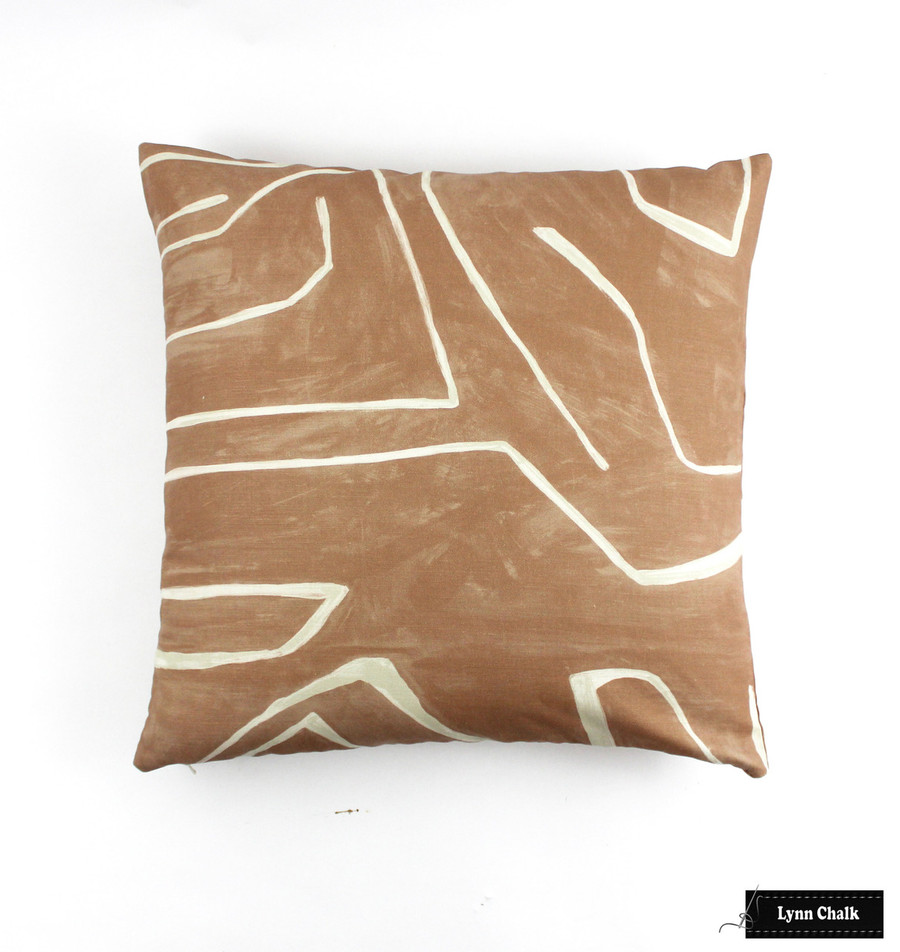 Kelly Wearstler Graffito Pillows in Linen/Onyx with Black Welting (comes in several colors)