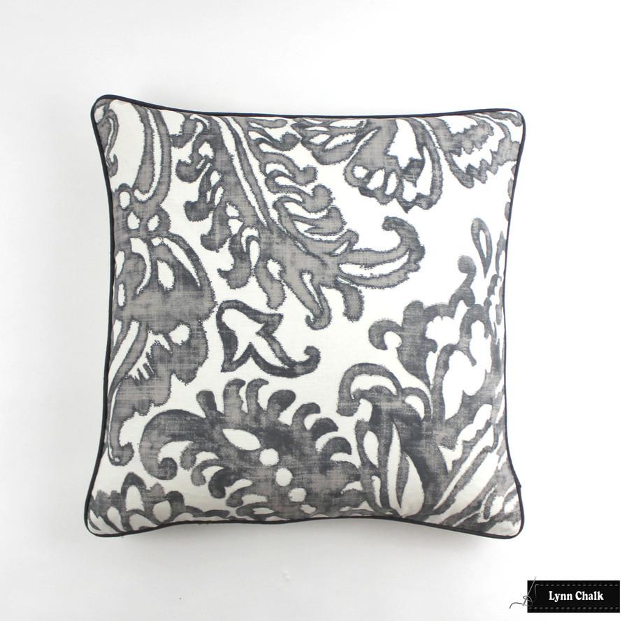 Pillow in Tremezzo Damask Graphite (24 X 24) with Dark Grey Welting