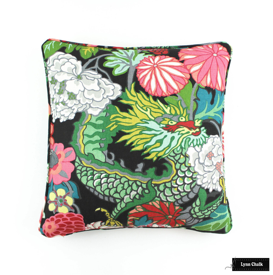 ON SALE 50% Off Schumacher Chiang Mai Dragon Pillow in Ebony with Welting (Both Sides-20 X 20) Made To Order