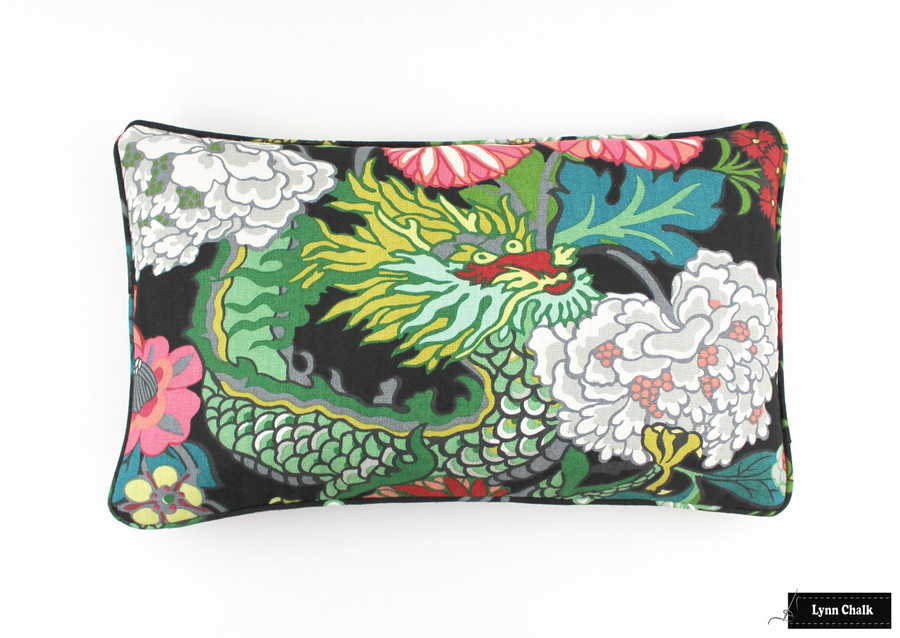 ON SALE 50% Off Schumacher Chiang Mai Dragon Pillow in Ebony with Welting (Both Sides-14 X 22) Made To Order