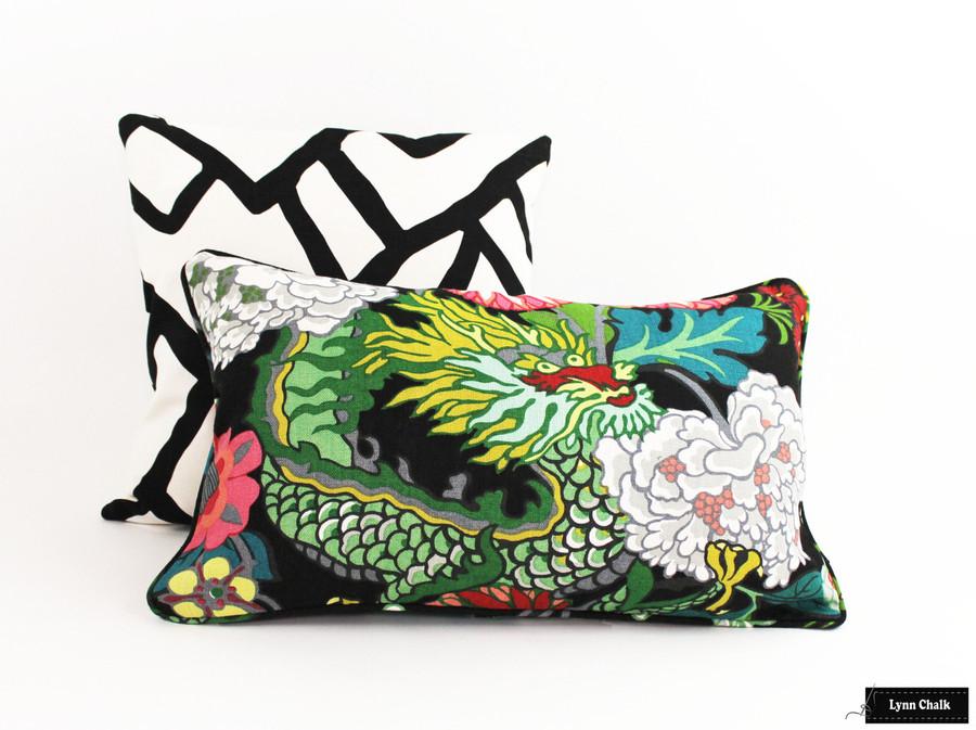 Schumacher Zimba Ebony and Chiang Mai Dragon Ebony Pillows