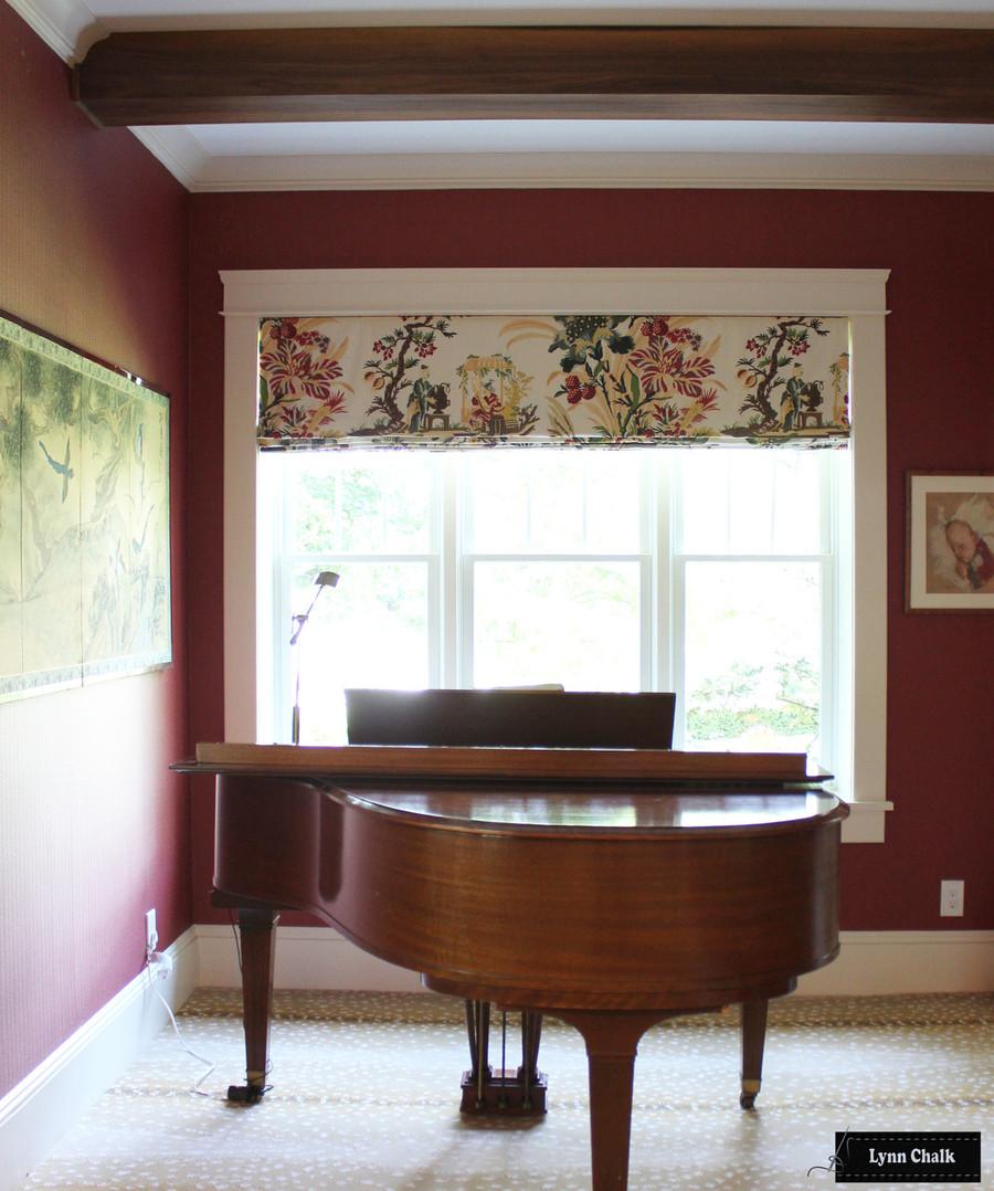 Brunschwig & Fils Le Lac Glazed Chintz Cream BR-71162 015 Double Wide Roman Shade in Piano Room