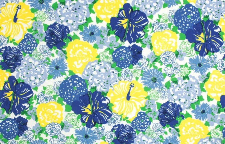 2016103_540 Lilly Pulitzer Heritage Floral II Blue Yellow Indoor Outdoor Fabric