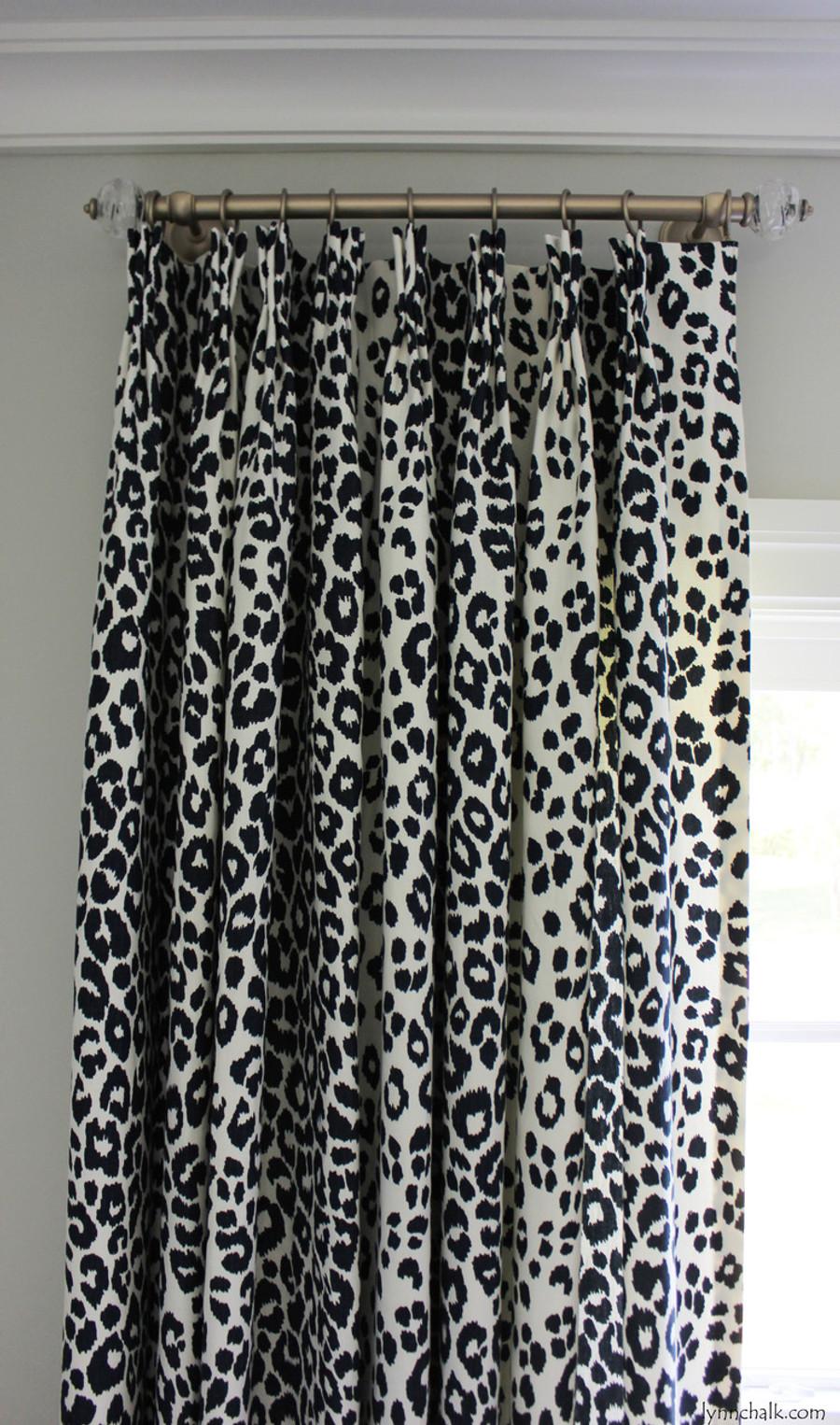 Custom Pinch Pleated Drapes by Lynn Chalk in Schumacher Iconic Leopard in Ink
