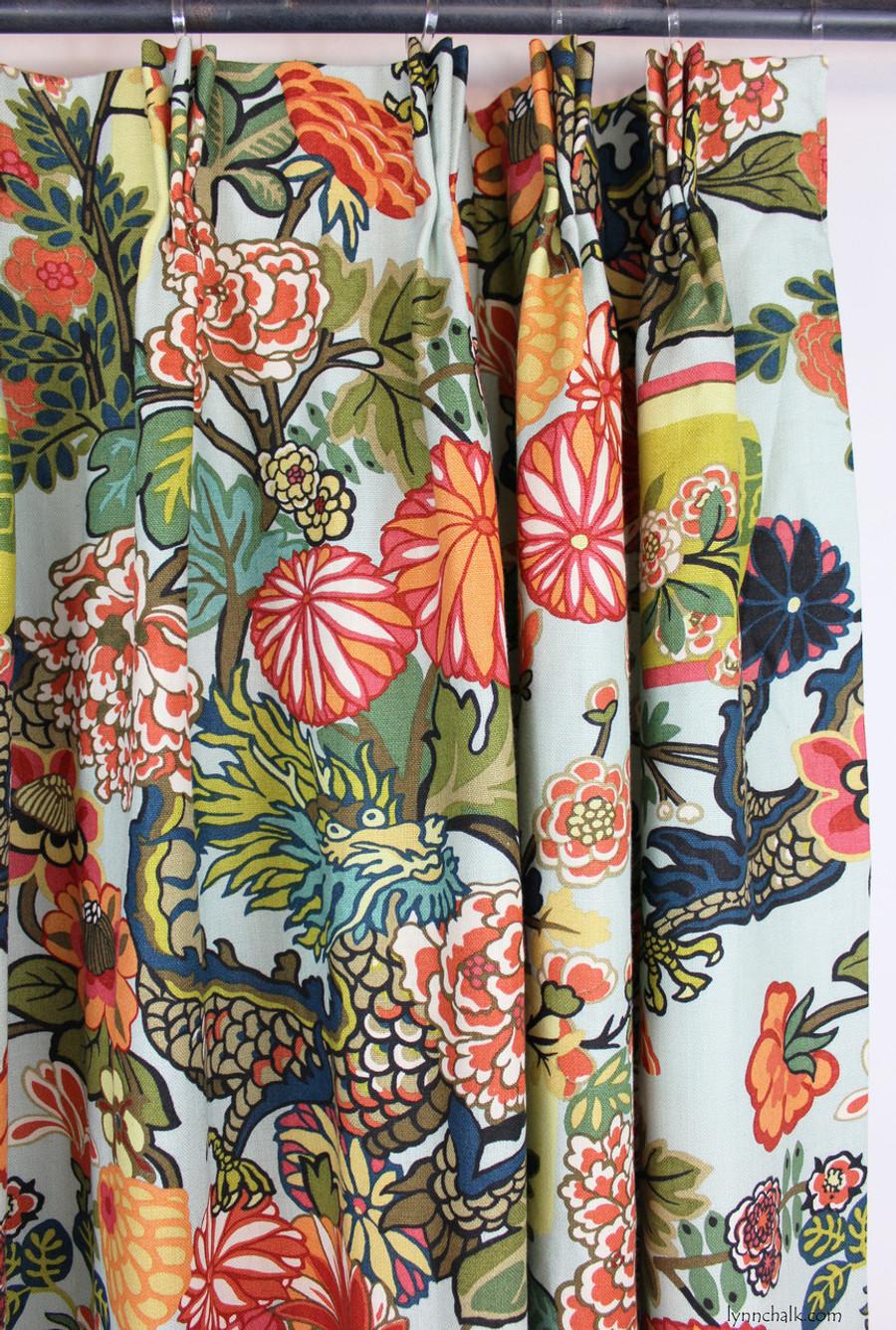 Custom Drapes by Lynn Chalk in Chiang Mai Dragon in Aquamarine