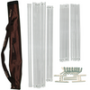 Convertible Radiant sauna tent frame assembly poles, brackets and connectors with a chocolate brown travel storage bag.
