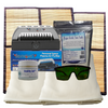 Sauna Fix 240 volt Convertible Bundle accessories include two natural bamboo floor mats, a pair of near infrared sauna eye protection glasses, two organic bamboo/cotton throw rugs, the Breathe Safe sauna ion generator and two alkalizing food salts.