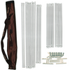 The portable Convertible near infrared sauna tent frame assembly poles, brackets and connectors all fit inside a single chocolate brown travel bag.