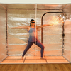 Sauna Fix Hot Yoga and Exercise sauna bundle provides plenty of interior space for yoga exercises, power stretching, and working out with light weights.