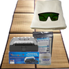 Bamboo tent floor mat, organic cotton throw rug, the Breathe Safe sauna ion generator, Baja Gold sea salt and alkalizing Healthy Salt are included with this sauna bundle.