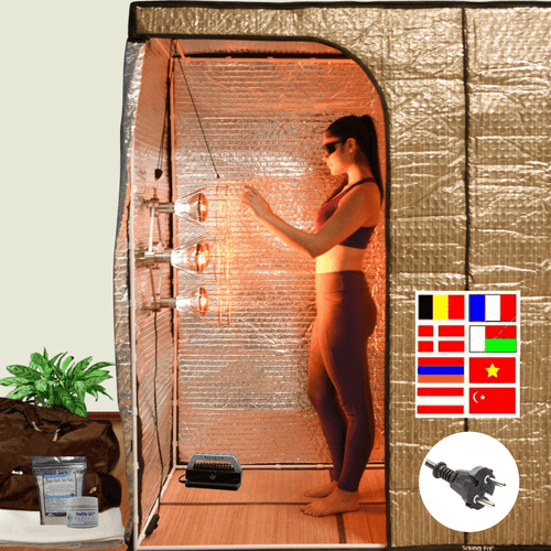 The Sauna Fix Portable Hot Yoga Exercise Bundle radiant tent system includes the Sauna Fix 230 volt lamp, patented tent, Breathe Safe, bamboo mat, organic floor rug and mineralizing salts.