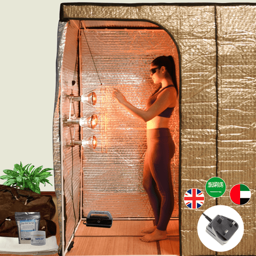 The Sauna Fix Portable Hot Yoga Exercise Bundle radiant tent system includes the Sauna Fix 240 volt lamp, patented tent, Breathe Safe, bamboo mat, organic floor rug and mineralizing salts.