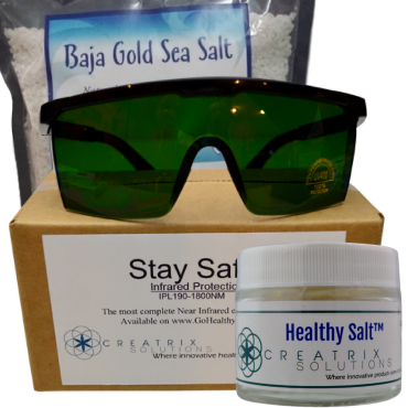 Healthy Salt, Baja Gold Sea Salt and NIR Sauna eye protection glasses