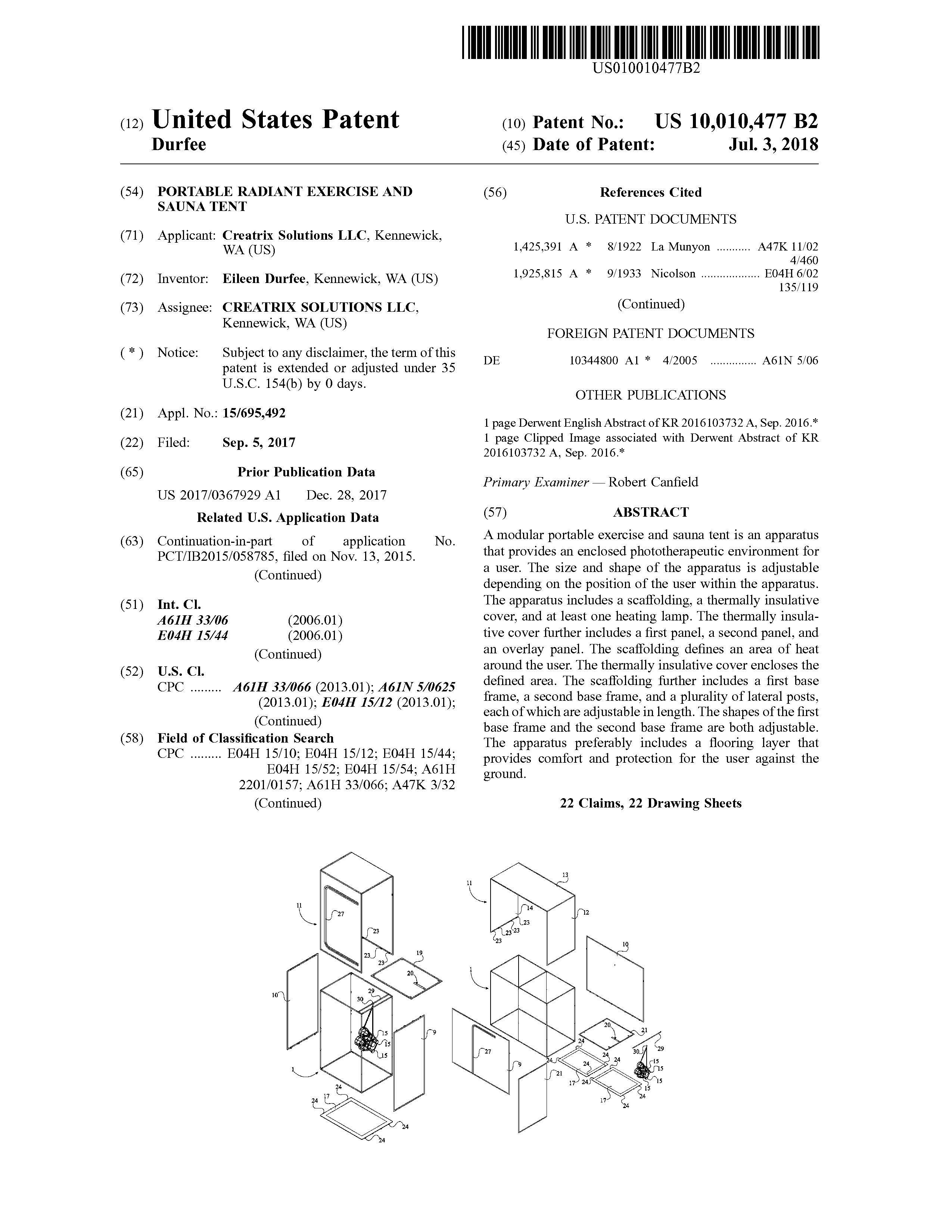 Sauna Tent Patent Page 1