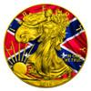 CONFEDERATE FLAG - US SILVER EAGLE - 2016 1 oz Silver Coin - Color & 24K Gilding