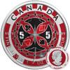 MAPLE LEAF POKER CHIP - 1 oz Pure Silver Coin - Color 2017 Canada