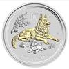 YEAR OF THE DOG Lunar Year Series II 1 oz Silver Gilded Coin Australia 2018