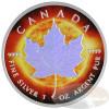 1oz Maple Leaf Hologram~Sun~ Ag .9999 $5 CA 2014