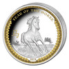 2014 Palau 1 Oz .999 Silver Year of the Horse $5 Gilded HR Coin