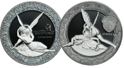 ​CUPID AND PSYCHE - 2016 2 oz Pure Silver Coin - Two-Sides Smart-minting© Technology & Marble Effect