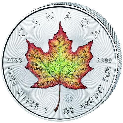 MAPLE LEAF COLOR -1 oz .9999 silver coin 2016 Canada
