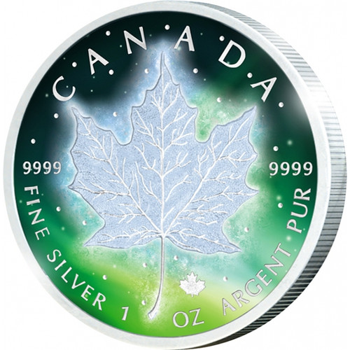 Frozen Maple Leaf 1 oz Silver Rhodium & Color 2016