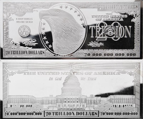 $20 Trillion Silver Bar 4 oz Bars USA 2016