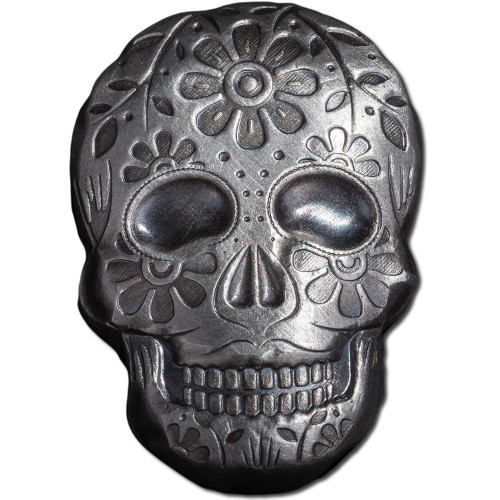 2 oz. Silver Sugar Skull 3D Poured Bar-Day of the Dead- Halloween
