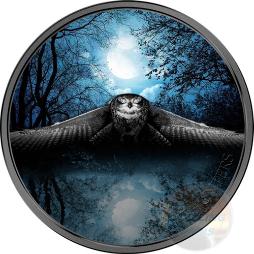 OWL Night Hunters 3 Oz Silver Coin 2000 Francs Ivory Coast 2017