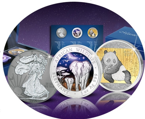MAJESTIC SILVER TREASURES Walking Liberty Elephant Panda Set 1 oz Silver Coin USA Somalia China 2015