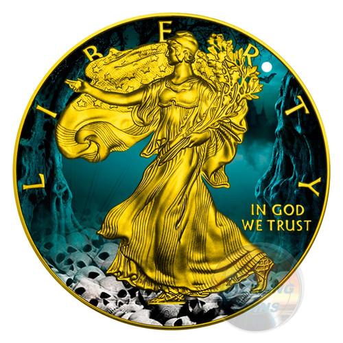 HALLOWEEN WALKING LIBERTY - SKULLS - 2016 1 oz Silver Eagle Coin - Color& 24K Gold Gilding