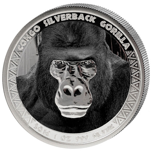 2016 1oz .999 Silver Congo Silverback Gorilla Proof Color Coin 5000 Francs