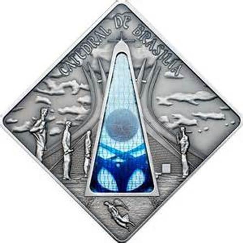 BRASILIA CATHEDRAL - Holy Windows Silver Coin 10$ Palau 2012