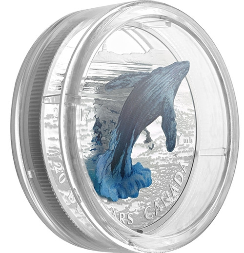 THREE-DIMENSIONAL 3D BREACHING WHALE - 2017 $20 1 oz Pure Silver Coin