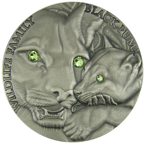 BLACK PUMA - WILDLIFE FAMILY - 2016 1 oz Ultra High Relief Silver Coin with Swarovski
