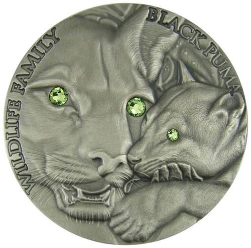BLACK PUMA - WILDLIFE FAMILY - 2016 1 oz Ultra High Relief Silver Coin with Swarovski