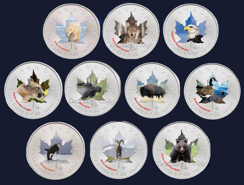 2014 CA Wildlife 10 oz Color Silver Maple Leaf Series 10 coins set