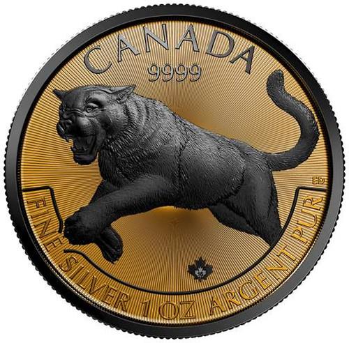 REVERSE GOLDEN ENIGMA COUGAR- 1 oz .9999 Silver $5 Coin 2016 Canada