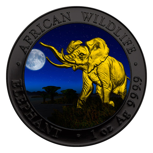 ELEPHANT NIGHT African Wildlife 1 Oz Silver Coin 100 Sh Somalia 2016
