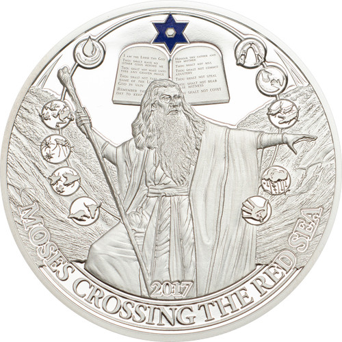 Moses Crossing the Red Sea - Biblical Stories Silver Coin 2$ Palau 2017