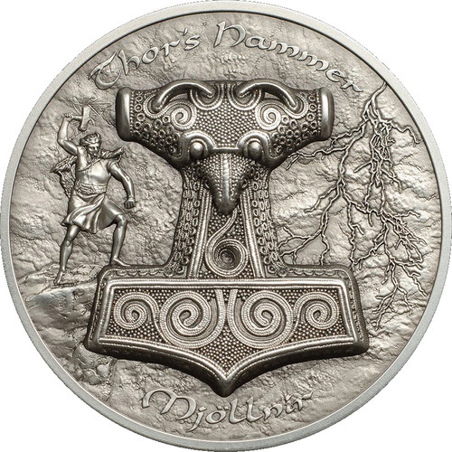 THOR HAMMER Mjollnir 2 Oz Silver Coin 10$ Cook Islands 2017