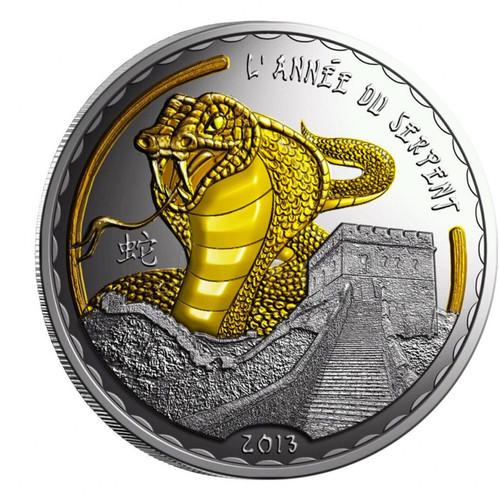 GOLDEN SNAKE 2013 Lunar Silver Gilded Coin 1000 Francs Cameroon
