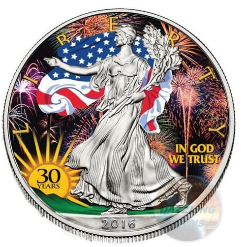 30th. Anniversary Color Gilded LIBERTY - 2016 1 oz Silver Eagle Coin