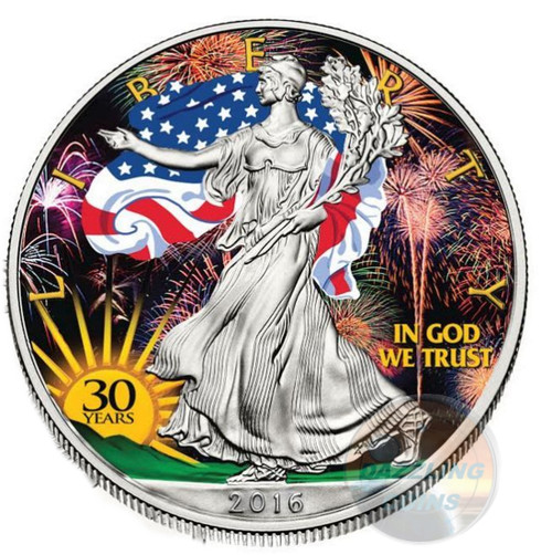 30th. Anniversary Color Gilded LIBERTY - 2016 1 oz Silver Eagle Coin