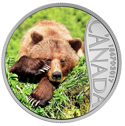 Grizzly Bear - Canada's 150th Coin Series 2017 $10 1 oz Silver Coin