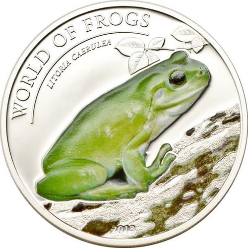 Litoria Caerulea Frog - Proof Silver $2 Coin Palau 2014