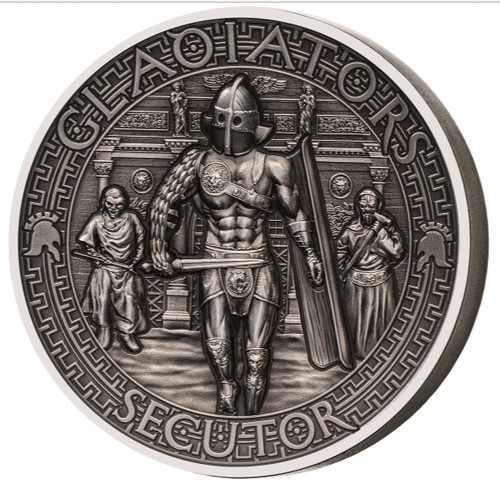 GLADIATORS Secutor 2 Oz Silver Coin 2$ Solomon Island 2017